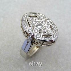 Fine Art Déco Vintage & Antique Wedding Ring 1.50 Ct Diamond 14k White Gold Over