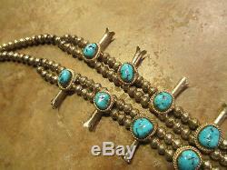 Fine Vintage Collier En Argent Sterling Kingman Avec Turquoise Squash Blossom