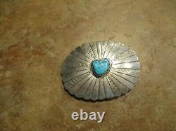 Fine Vintage Navajo Sterling Argent Turquoise Concho Ceinture Boucle