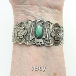 Fred Harvey Era Vintage Navajo Thunderbird Turquoise Bracelet Signé Ster
