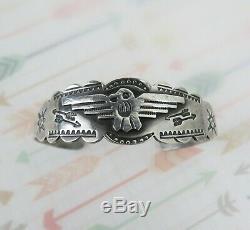 Fred Harvey Vintage En Argent Sterling 1950 Bracelet Manchette Thunderbird