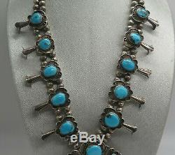 Gage Vintage Navajo Squash Blossom Collier Turquoise En Argent Sterling
