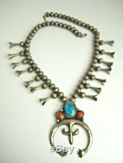 Gage Vintage Sterling Morencie Turquoise Corail Squash Blossom Necklacefree Ship