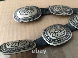 Génial! Vintage Navajo Martha Cayatineto Sterling Silver Stampwork Concho Belt