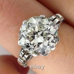 Gia 4.57ct Antique Art Nouveau Ancienne Mine Diamond Solitair Engagement Anneau De Mariage
