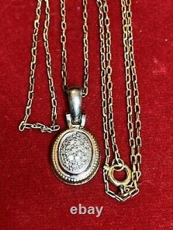 Gold & Diamant En Argent Sterling Vintage Signée Par La Succession Pendant Necklace