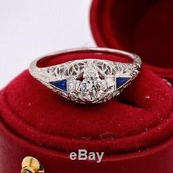 Gold Sapphire Antique Vintage Edwardian Filigrane Bague Terminer 1,40 Ct Diamant