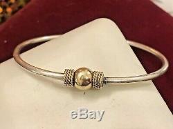 Gold & Sterling Argent Cape Cod Vintage Bracelet Domaine Signé Gr Bypass Ban