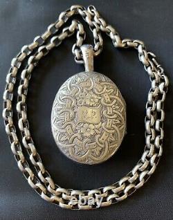 Grand Collier Antique De Chaîne En Argent Sterling Gravé Victorien