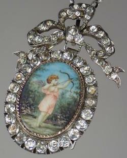 Grand Collier De Pendentif En Médaillon Antique Géorgien En Argent Doré Mop Cupid C1790