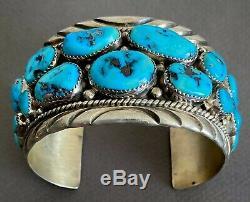 Grand Vintage Navajo En Argent Sterling Kingman Turquoise Bracelet 7.5 Poignet