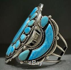 Grand Vintage Navajo En Argent Sterling Turquoise Bracelet Cluster