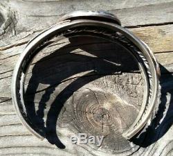 Grand Vintage Navajo En Argent Sterling Turquoise Bracelet Manchette 42,2 Grammes