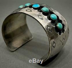 Grand Vintage Navajo En Argent Sterling Turquoise Bracelet Vieux Et Heavy