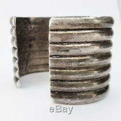 Grand Vintage Old Pawn Navajo Amérindien En Argent Sterling Bracelet