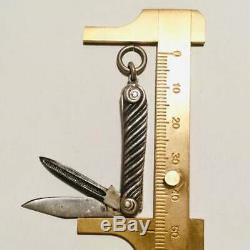 Gravé Pendentif Porte-couteau En Argent Sterling Châtelaine Nouveau Deco. # 2 Antique