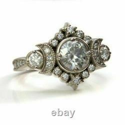 Half Moon Retro Vintage Anneau De Fiançailles Antiques 2 Ct Diamond 14k Or Blanc Sur