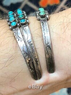 Hou La La! 2 Old Ronde En Argent Sterling Cabochon Turquoise Navajo Vintage Bracelet