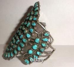 Huge Old Pawn Vintage Navajo Zuni Argent Sterling Petit Point Bracelet Turquoise