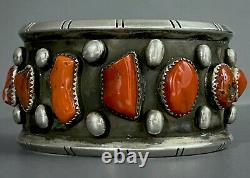 Huge Old Vintage Santa Domingo Sterling Argent Natural Coral Cuff Bracelet Wow