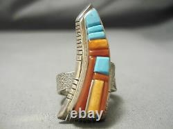 Important Incrustation Master Navajo Vintage Turquoise Coral Sterling Silver Ring