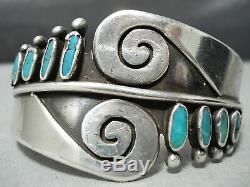 Important Ramone Platero Vintage Navajo Turquoise Bracelet En Argent Sterling