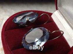 Incroyable Vintage Antique Soviétique Urss Boucles D'oreilles Big Stone Gilt En Argent Sterling 875