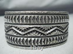 Intense Vintage Navajo Sterling Silver Bracelet Native American Old