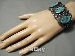 L'un Des Meilleurs Vintage Navajo Blue Diamond Turquoise Bracelet En Argent Sterling