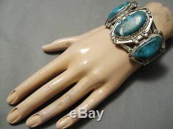 L'un Des Meilleurs Vintage Navajo Old Morenci Turquoise Bracelet En Argent Sterling