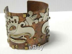Large Cuff Aztèque Maya Mexicaine Vintage En Argent Sterling + Cuivre Bracelet Mexique