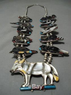 Le Meilleur Vintage Navajo Zuni Turquoise Inlay En Argent Sterling Squash Collier Fleur