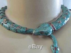 Le Mexique Vintage En Argent Sterling Émail Vert Serpent Articulé Collier Signé