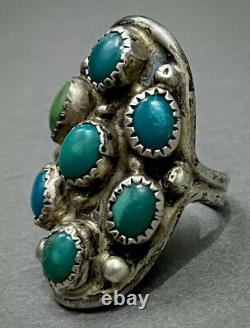 Long Vintage Navajo Amérindien Sterling Silver Turquoise Cluster Ring Old