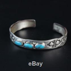 Lourd Argent Sterling. Bracelet Vintage 925 Avec Turquoise Navajo, Amérindien