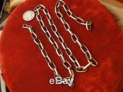 Lourd! Vtg Na Handmade Navajo Sterling Papier D'argent Clip Link 24 Chain necklace