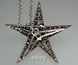 Lovely Antique Or Victorien Argent Diamant Floral Starburst Pendentif Collier