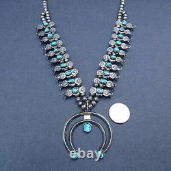 Lovely Vintage Navajo Argent Sterling Turquoise Box Bow Squash Blossom Collier