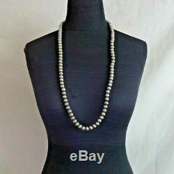 Lovely Vintage Navajo Estampé En Argent Sterling Navajo Perles 35 Strand Necklace