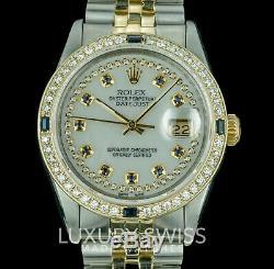 Lunette En Or Avec Cadran En Acier Serti De Diamants Et De Saphirs Datejust De 36 MM Pour Hommes Rolex