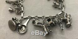 Magnifique Bracelet À Breloques Original 20 En Argent Sterling Vintage Estate 925