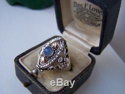 Magnifique Vintage En Argent Massif Calcédoine Bleue Médaillon Poison Taille Q Anneau