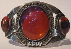 Magnifique Vintage Navajo Indian Sterling Silver Dragons Breath Cuff Bracelet