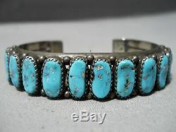 Magnifique Vintage Navajo Kingman Turquoise Bracelet En Argent Sterling Vieux