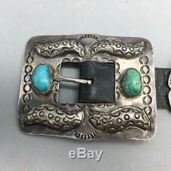 Magnifique! Vintage Turquoise Et Argent Sterling Concho Ceinture
