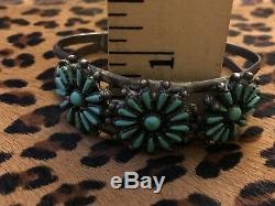Manchette Vintage Native American Turquoise & Silver Sterling 925