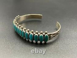 Manchette Vintage Southwestern Sterling Silver Faux Turquoise Stampwork Bracelet