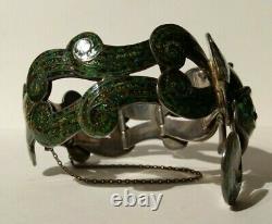 Margot De Taxco Mexique Vintage Sterling Green Enamel Fish Bracelet Collier Set