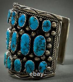 Massive Turquoise Vintage Navajo En Argent Sterling Bracelet Manchette Grappe 165 Grammes