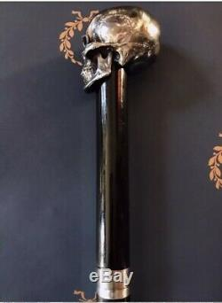 Memento Mori Canne Michel Berandi Crâne En Argent Massif Limitée 1/5 Épée